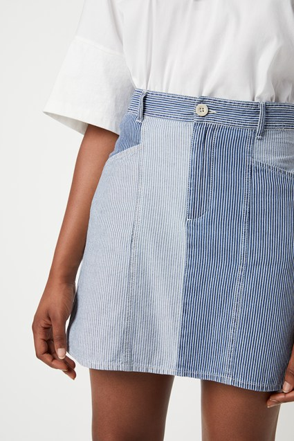 Zina Stripe Denim Mini Skirt