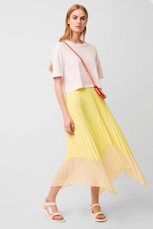 ali light neon pleated skirt