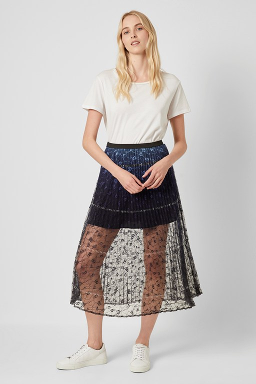 amadika lace ombré pleated skirt