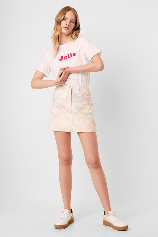 sade tie dye denim mini skirt