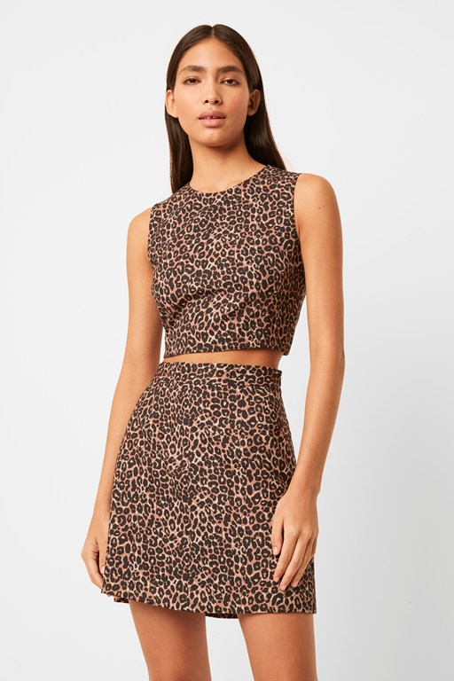 leopard whisper mini skirt
