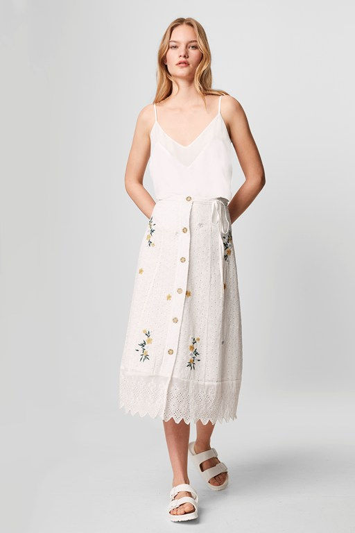 eka embroidered button front skirt