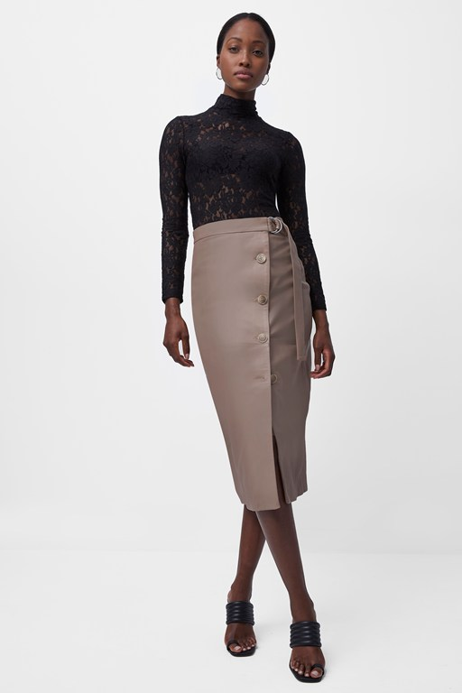arbia leather belted skirt