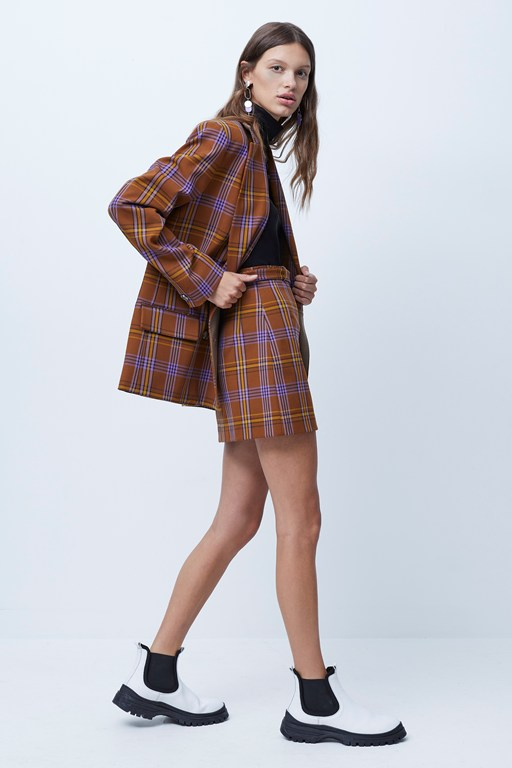 immy suiting checked belted mini skirt