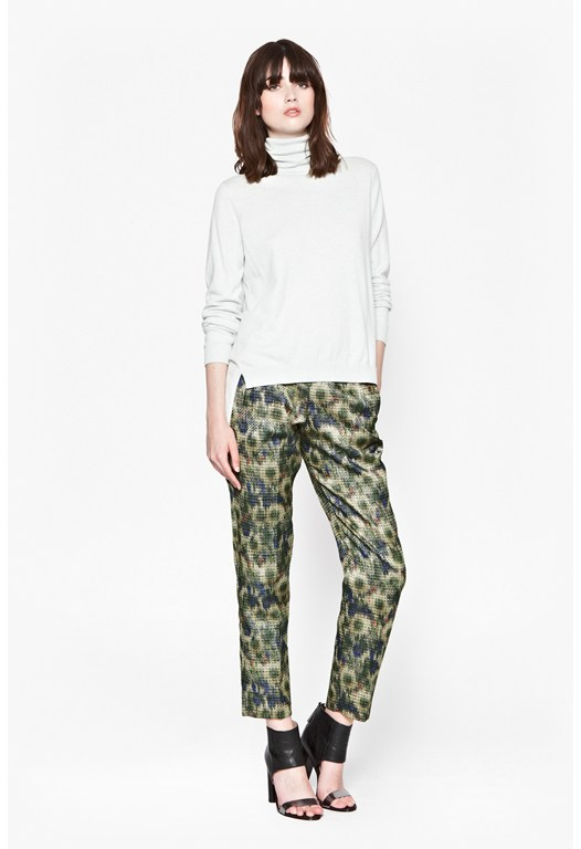 Moire Meadow Peg Leg Trousers