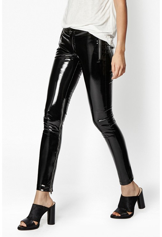 Patent Zip Up Skinny Trousers