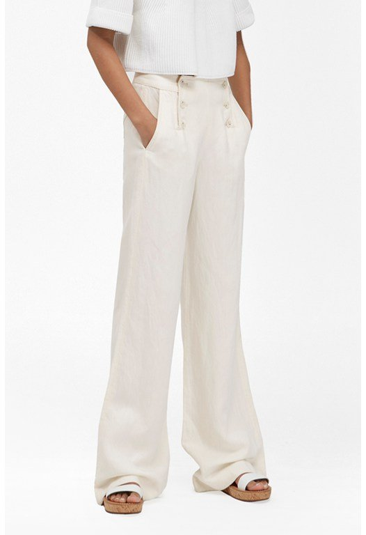 Linen Denim Wide Leg Trousers