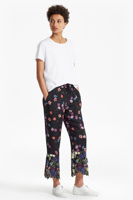 Botero Lace Mix Tie Waist Trousers
