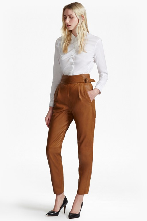goldenburg high rise leather trousers