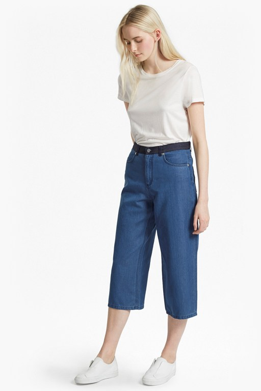 wisteria blue denim culottes