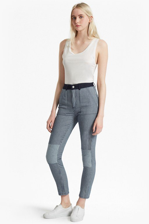 Complete the Look Stripe Mash Up Skinny Jeans