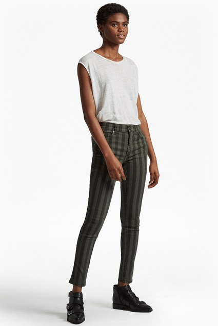 Stripey Stretch Denim Skinny Jeans