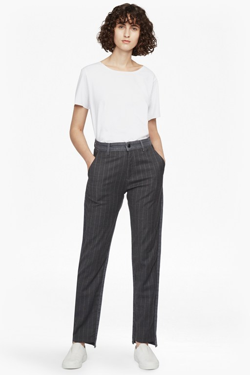 pinstripe mash up high rise straight jeans