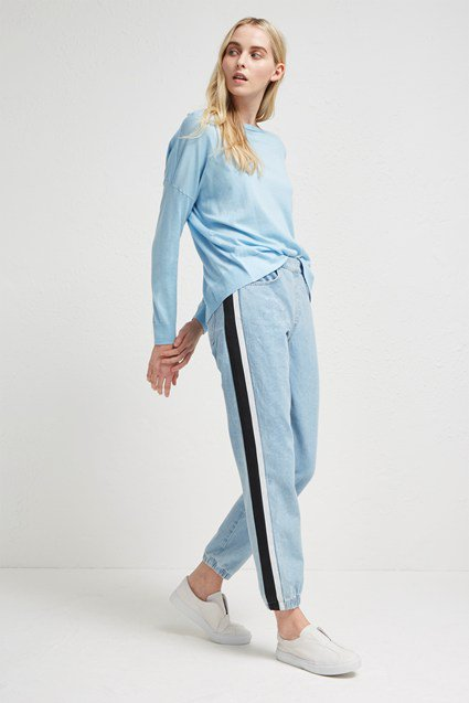 Theo Denim Track Pants Wedding Guest Dresses French Connection Usa