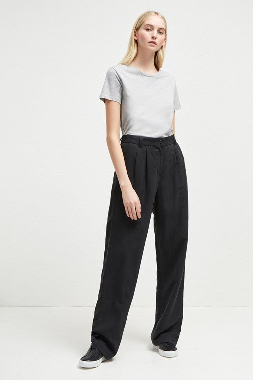 caspia linen pleated trousers