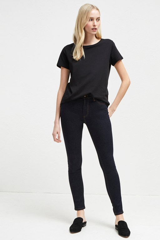 thermal denim high rise skinny jeans
