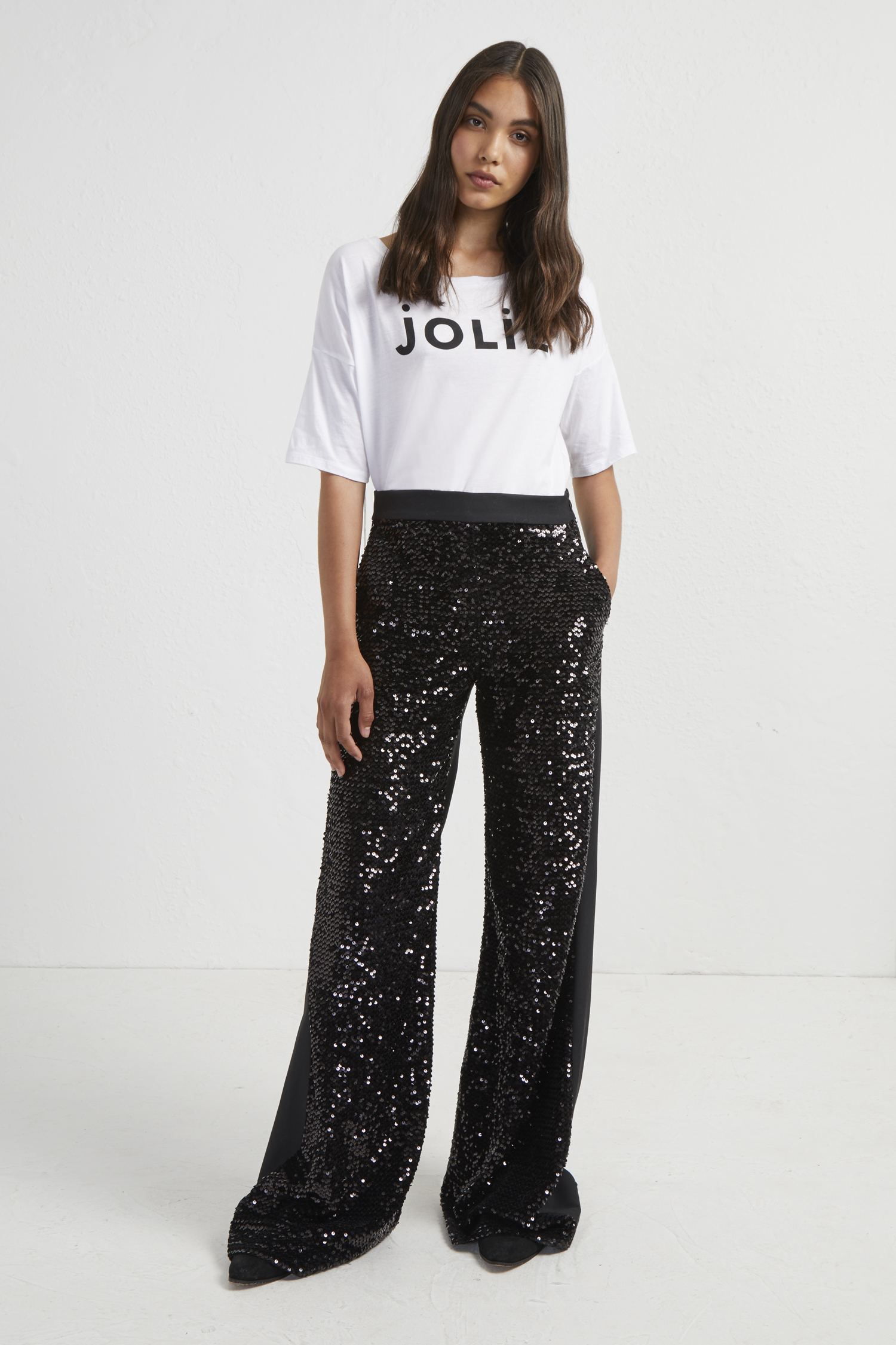 Alodia Sequin Flared Trousers by French Connection