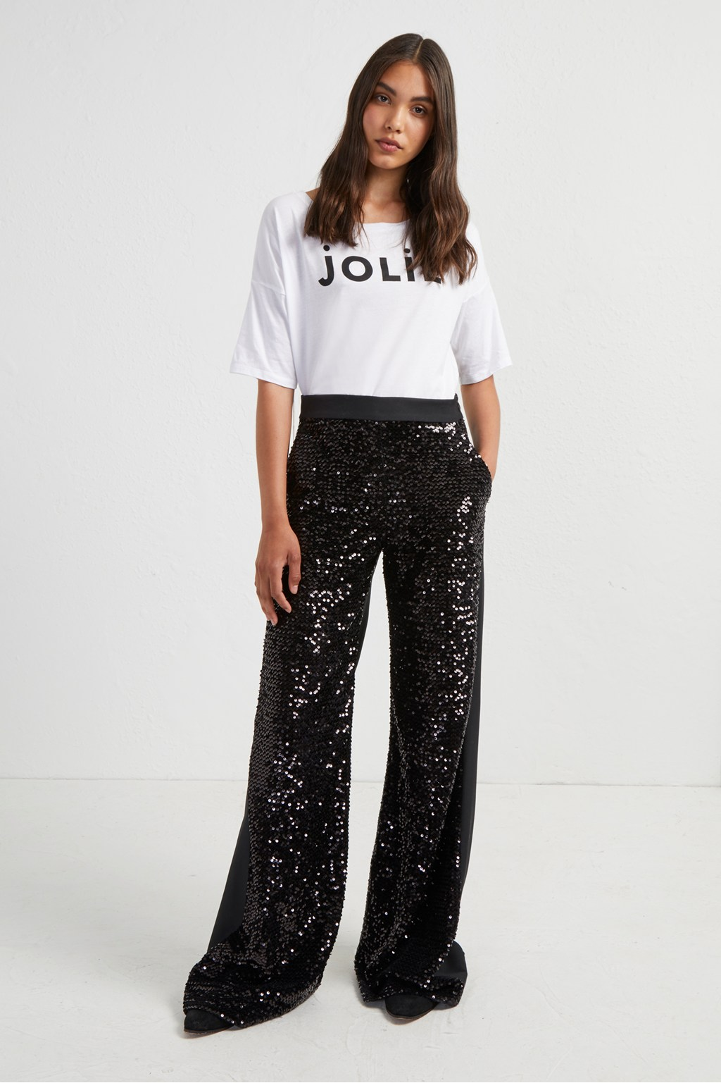 c7669e7f2c1 Alodia Sequin Flared Trousers. loading images.