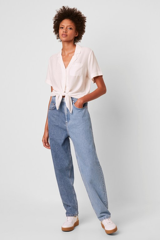 yoshie two tone high waist boyfriend jeans