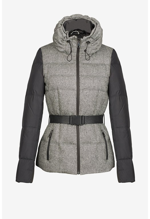 Tweed Combo Belted Puffer Jacket