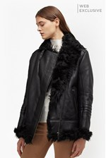 Looks Great With Night Toscana Shearling Leather Jacket