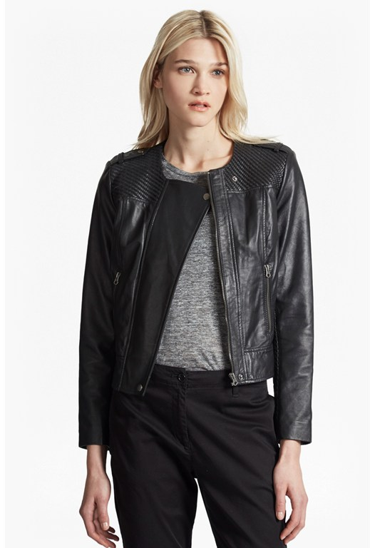 Gough Weaved Panels Leather Jacket