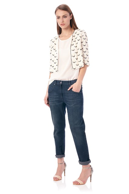 Geo Daisy Cropped Jacket