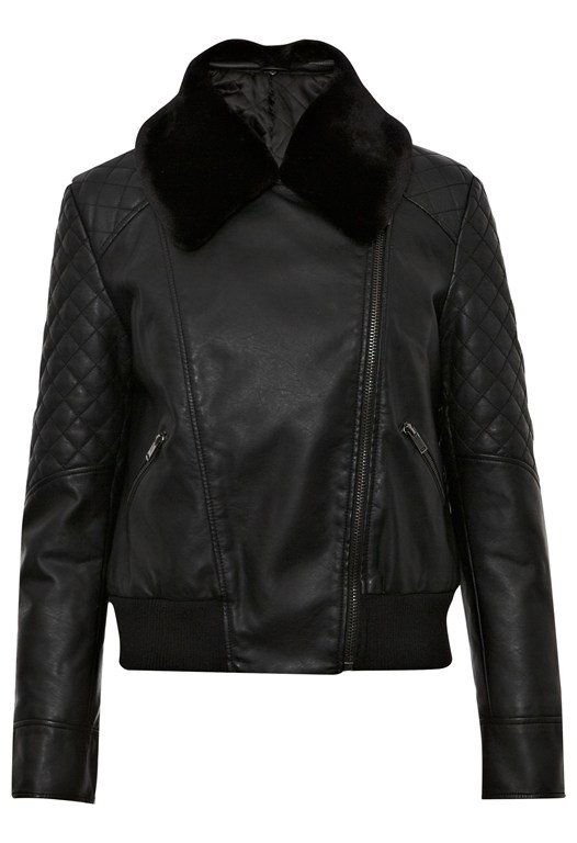 Jet Faux Fur Quilted Jacket