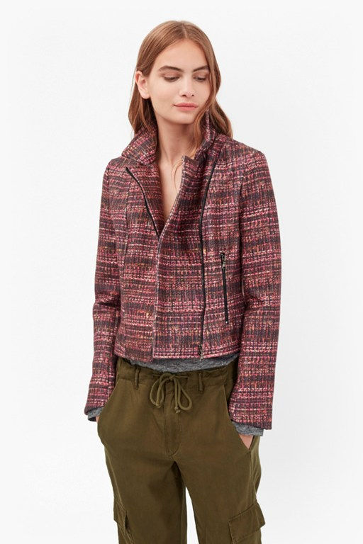 Complete the Look Felicity Tweed Print Biker Jacket