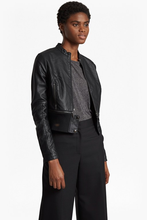 sandra faux leather high collar biker jacket