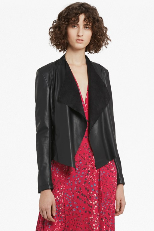 Complete the Look Stephanie Faux Leather Waterfall Jacket