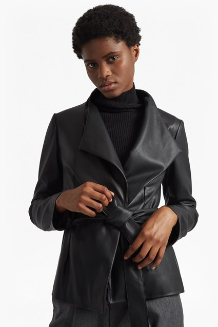 Margarette Faux Leather Wrap Over Jacket