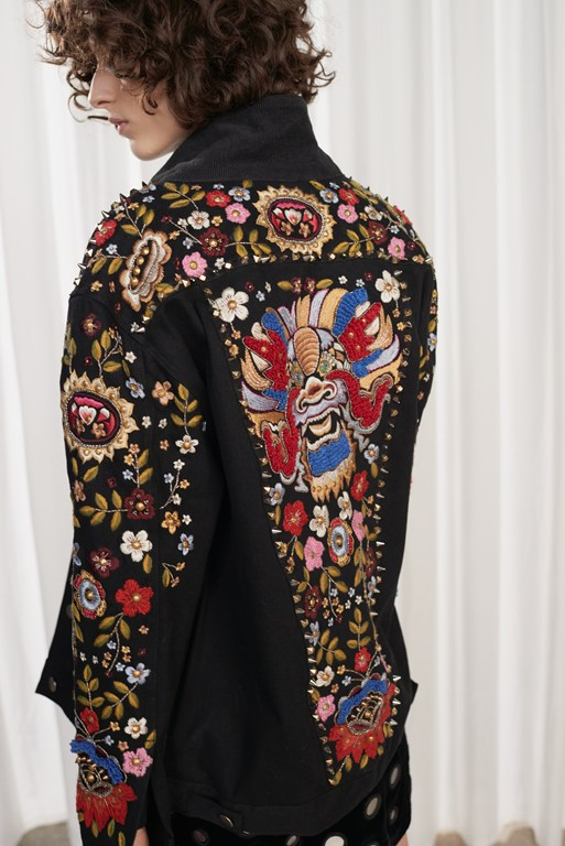 mazie floral hand-embroidered denim jacket
