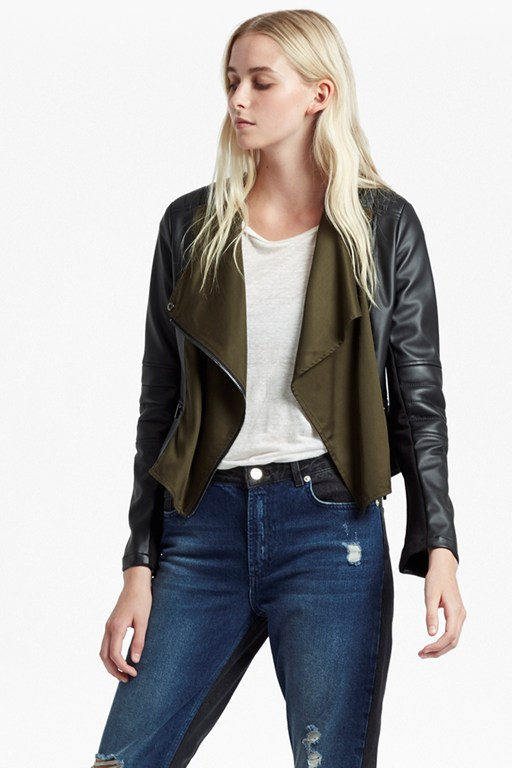 Complete the Look Filomena Draped Front Biker Jacket