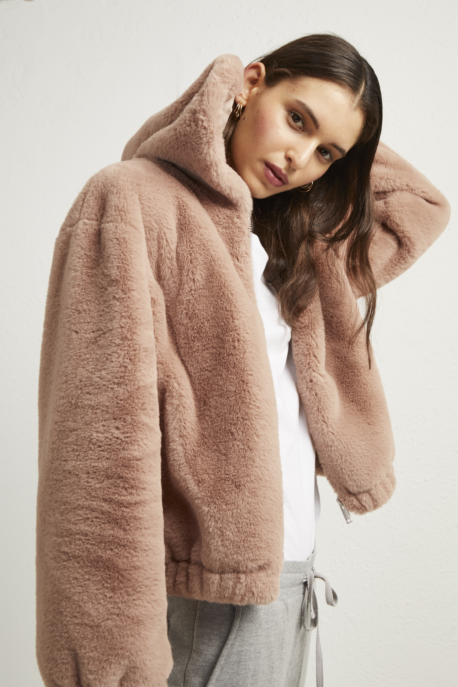Arabella Faux Fur Hooded Jacket by French Connection