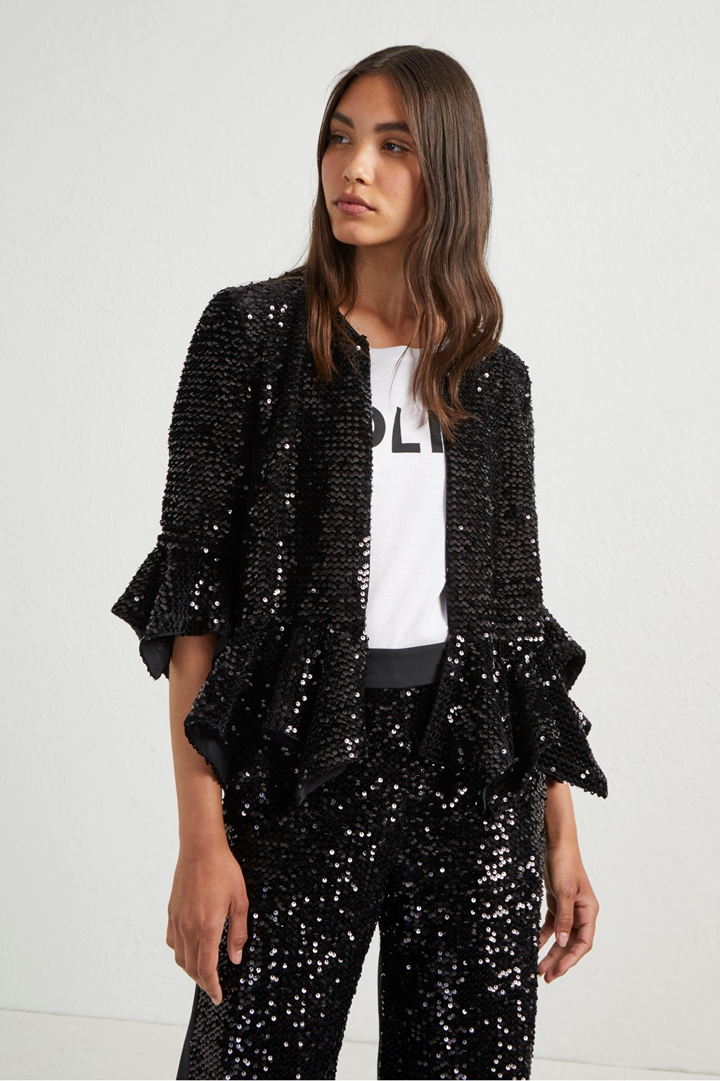 bf0ee79387f7 Alodia Sequin Cropped Jacket | Collections | French Connection Usa