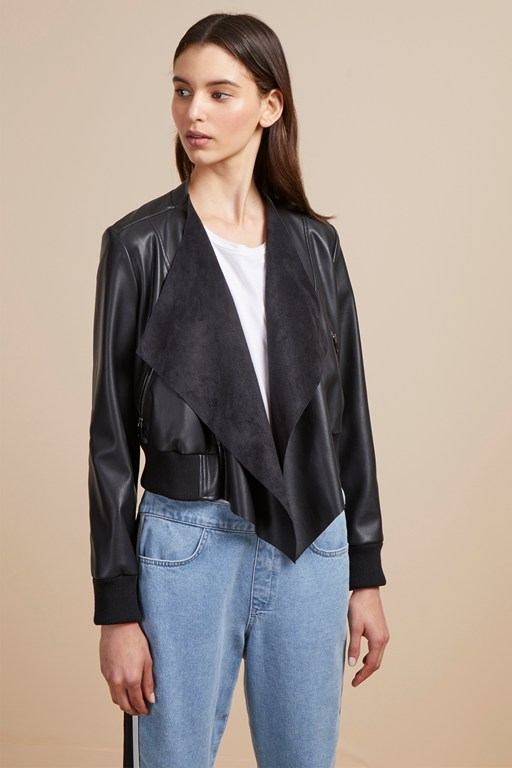 Complete the Look Abellana PU Bomber Jacket