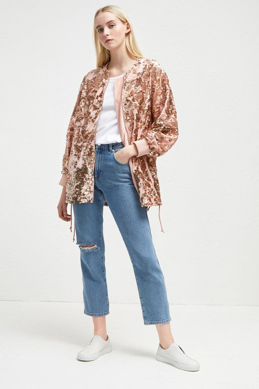 adette shine sequin bomber jacket