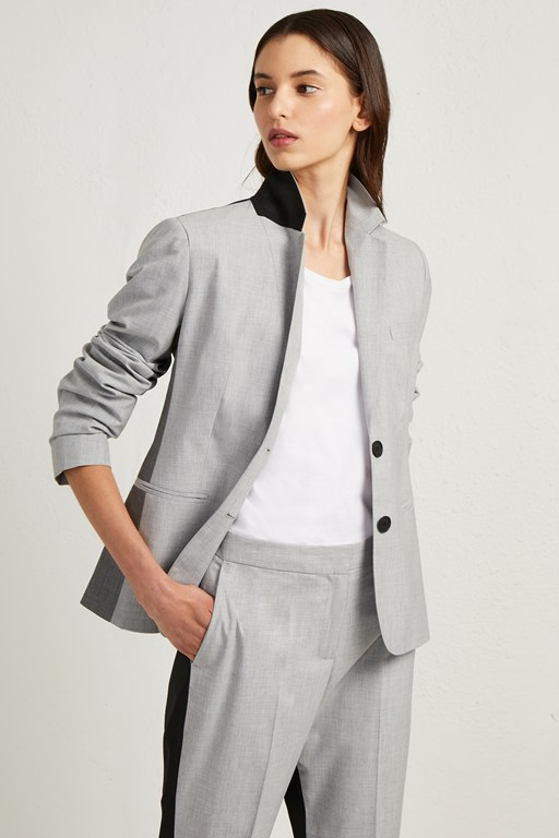 color block suiting fitted blazer