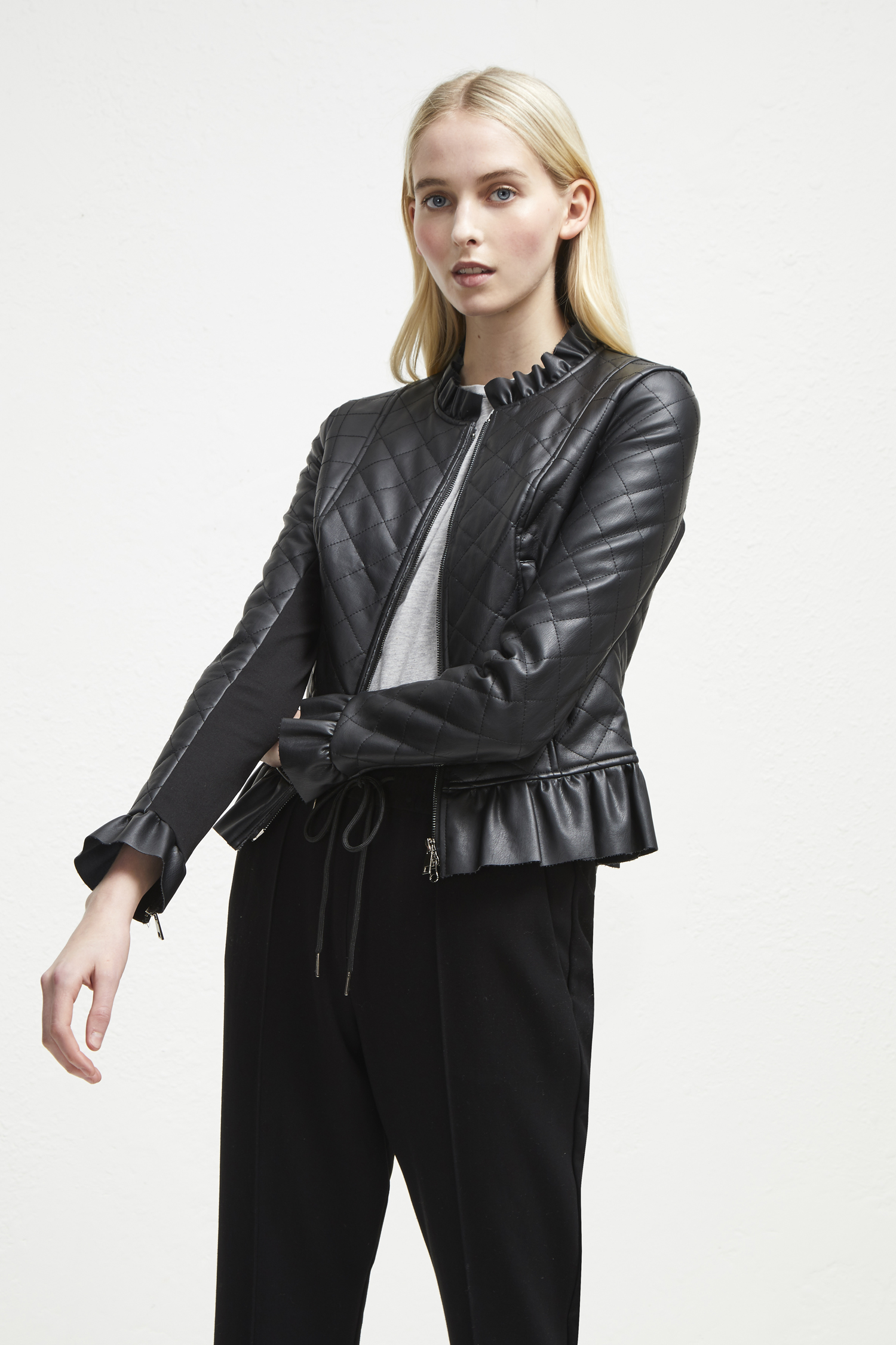 Brishen Pu Frill Edge Jacket by French Connection