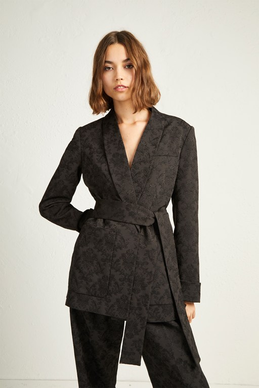 jane suiting belted shawl collar jacket