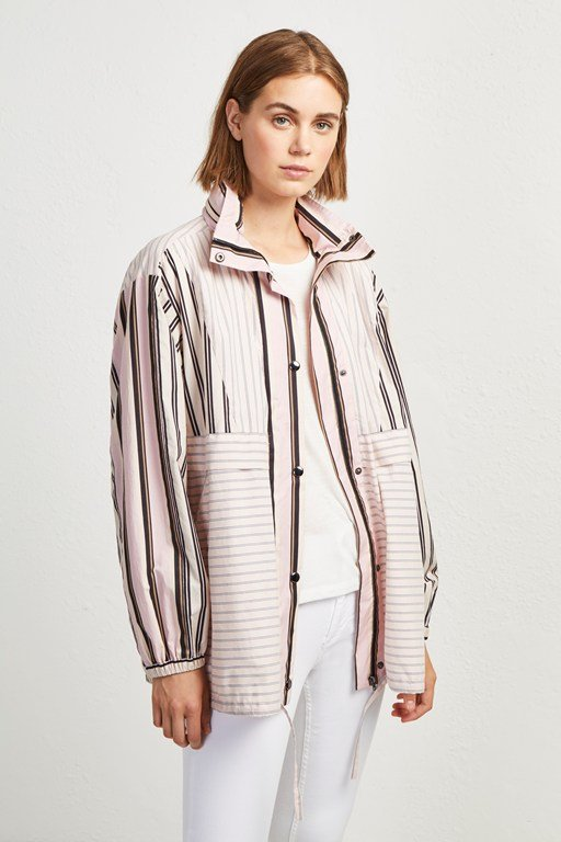 cotton mix stripe bomber jacket