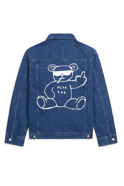 fcuk rude bear over sized denim jacket