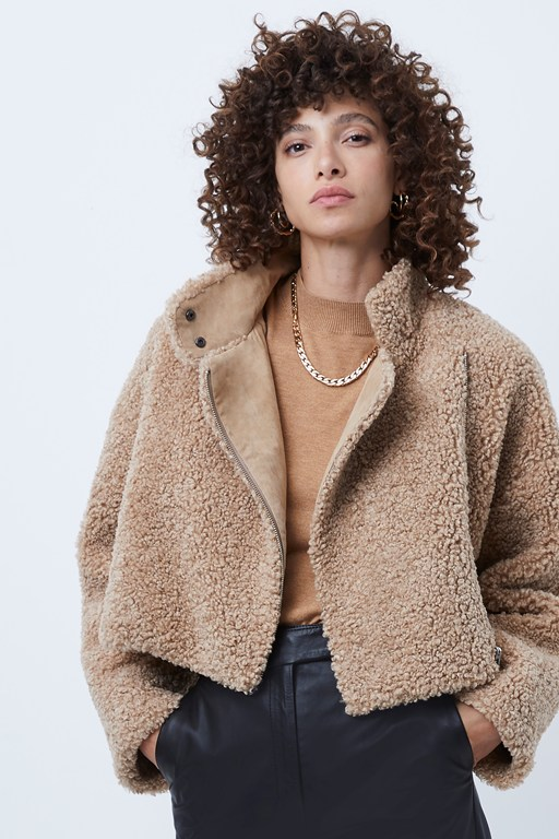iren faux fur cropped jacket