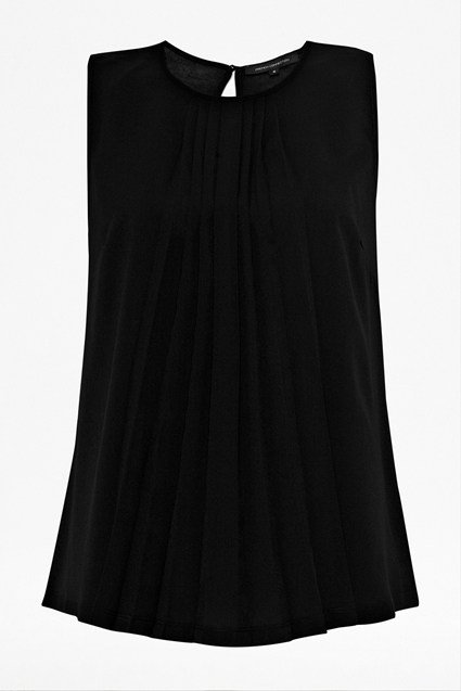 Polly Plains Sleeveless Pleated Top