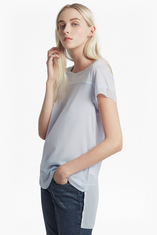 polly plains chiffon trim t-shirt