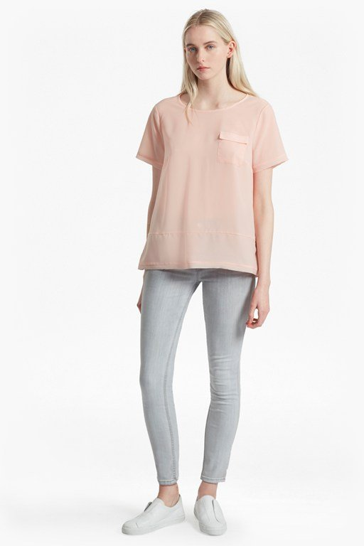 Complete the Look Crepe Light Raw Edge Top