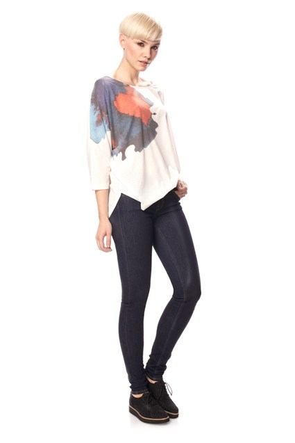 FLOWER SRETCH SCOOP TOP