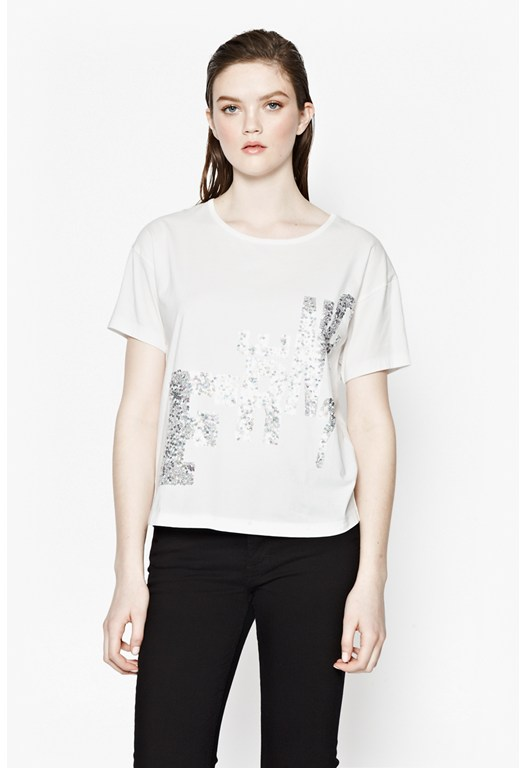 GLITTER GRAPHIC SEQ TEE