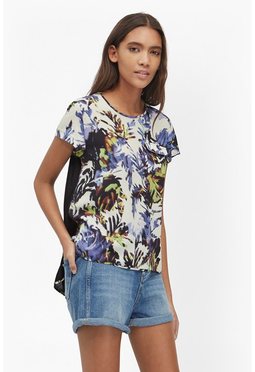 Kiki Palm Printed Pocket T-Shirt